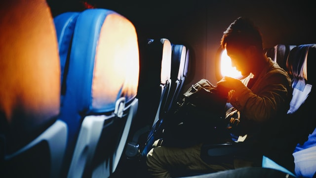 飛行機,機内,海外旅行,夕日