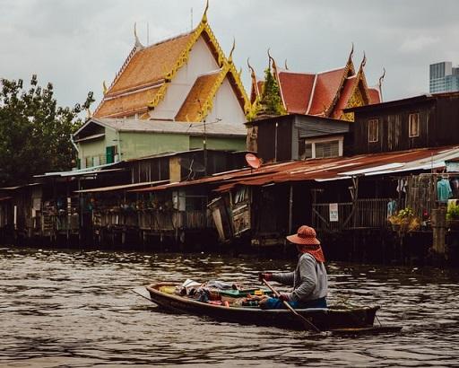 タイ,川,船