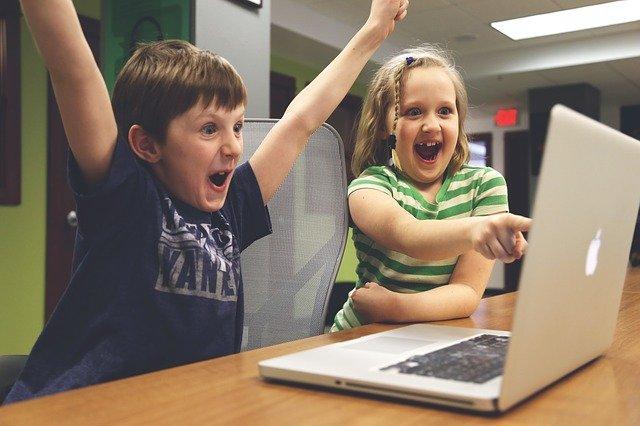 やったー,ガキ,パソコン,成功